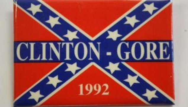 Get your Clinton Gore 1992 confederate flag sticker