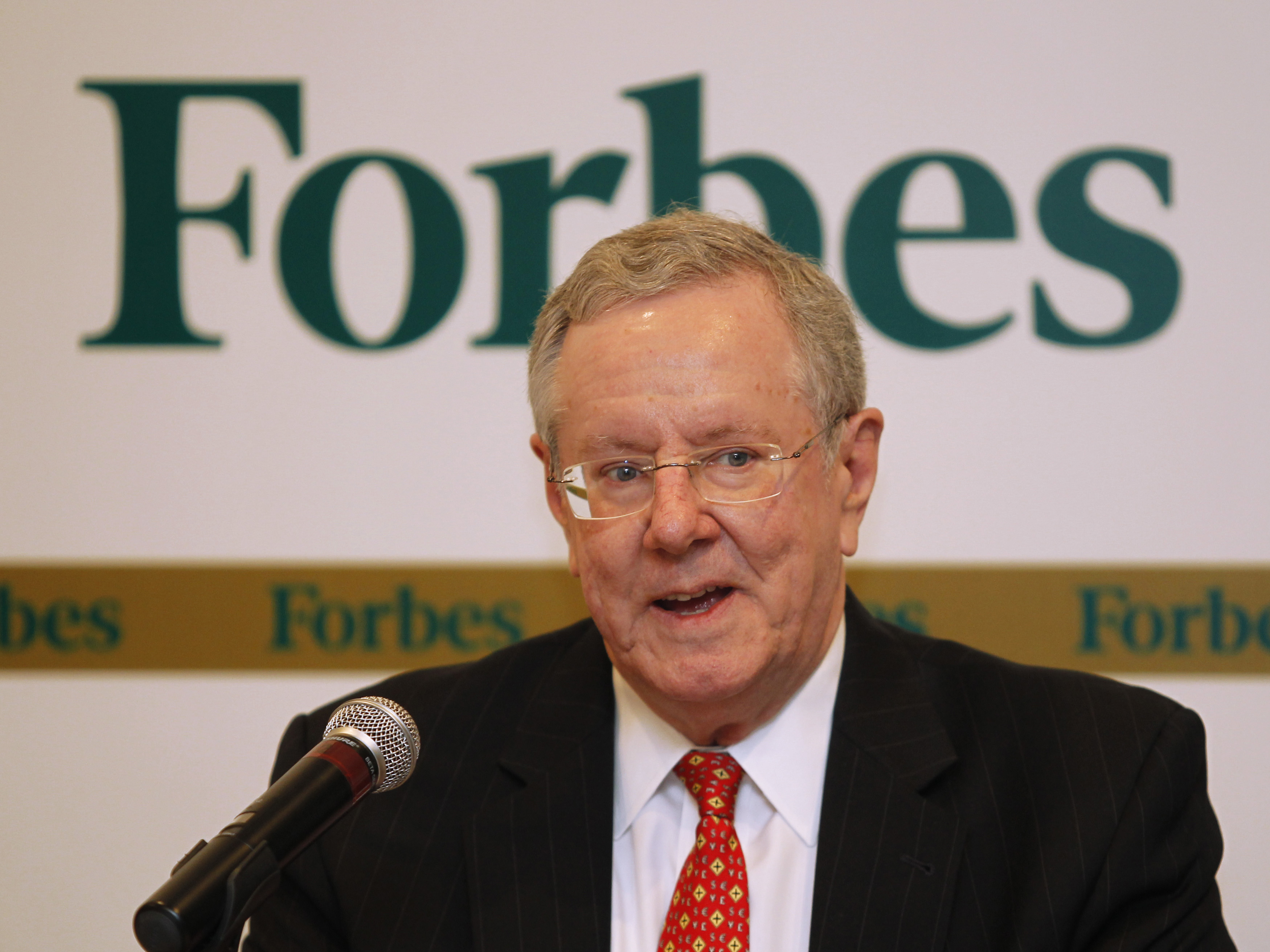 Forbes Media Chairman and Editor-in-Chief Steve Forbes speaks during a news conference before the Forbes Global CEO Conference in Kuala Lumpur September 12, 2011. REUTERS/Bazuki Muhammad (MEDIA BUSINESS SOCIETY WEALTH) - RTR2RABI